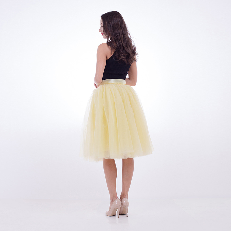 3b90af4fbe 7 layers 65cm Tulle Skirt Pleated TUTU Skirts Womens Lolita Petticoat  Bridesmaids yellow dance skirt Midi Skirt -in Skirts from Women's Clothing  on ...