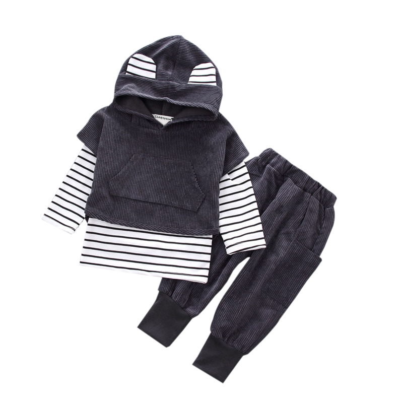 3PCS Autumn Winter  Baby Boys Clothes Set Fashion Boy Clothes suit stripe Long Sleeve T-shirt+pants Kids girls clothes age 0-3Y