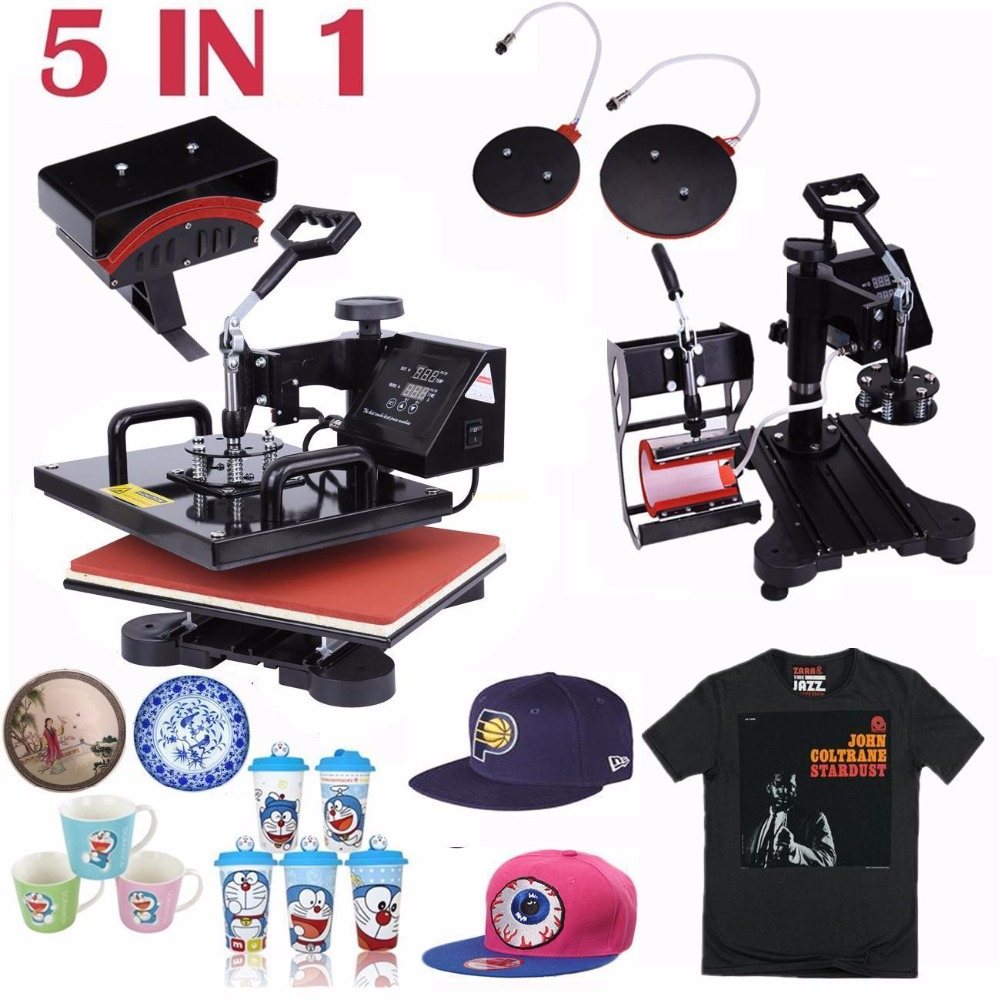 (Ship from USA) 5 in 1 Combo Digital Heat Press Machine Swing Heat Sublimation Transfer for T-Shirt Mug Cup Cap Hat Plate cheap manual swing away heat press machine for flatbed print 38 38cm