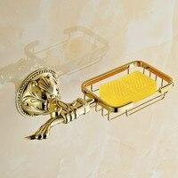 European Gold Soap Dishes Antique Leaf Carved Soap Box Frame Hanging Holder Luxury Bathroom Accessories Set