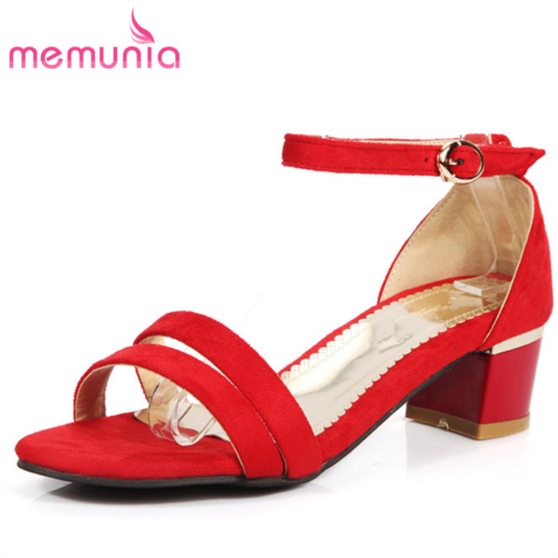 MEMUNIA 2017 new arrive women sandals fashion flock buckle square heels summer shoes simple college style solid hot sale memunia 2018 new arrive women summer sandals sweet bowknot casual shoes simple buckle comfortable square heele shoes woman