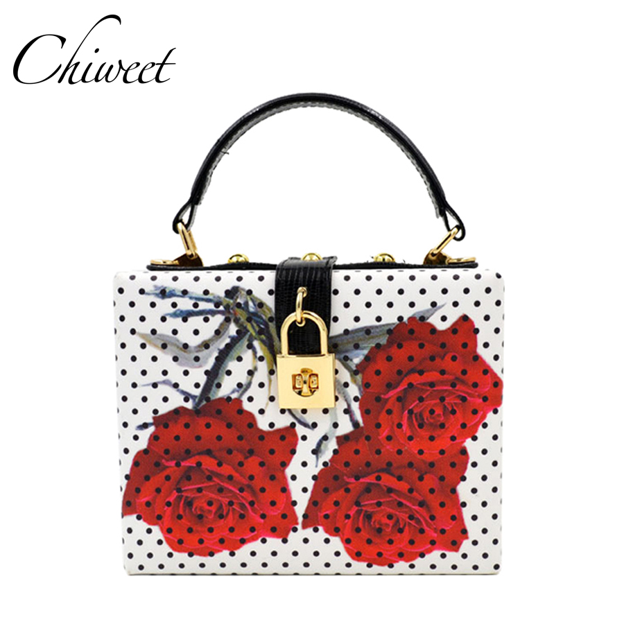 Rose Flower Women Evening Bags Designer Clutch Floral Print Handbags Luxury PU Leather Tote Box Women Famous Brand Crossbody Bag