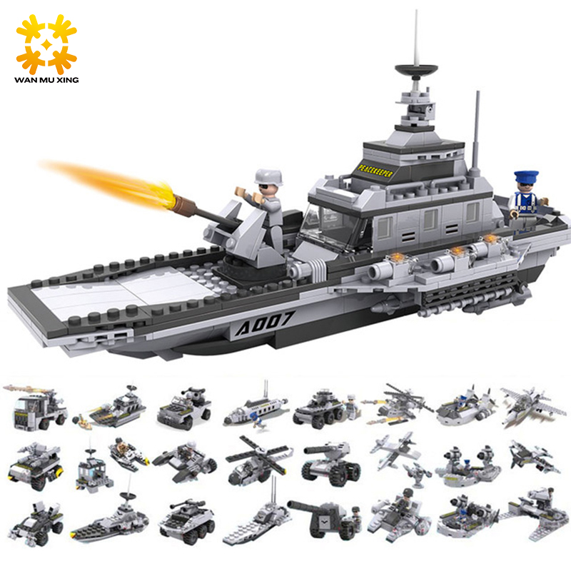 13007 Military Series Helicopter Fighter Battleship 8 pcs/set 25 models Building Block Educational DIY Bricks Toys Gift 8 in 1 large military figures warship fighter helicopter tank ship building blocks set children educational toys for boys