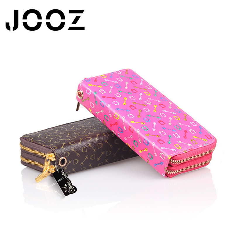 JOOZ Brand Fashion Luxury Long Dull Polish Style PU Leather Lady Wallet Geometric Pattern Double Zipper Multi Layer Female Purse lorways 016 stylish check pattern long style pu leather men s wallet blue coffee