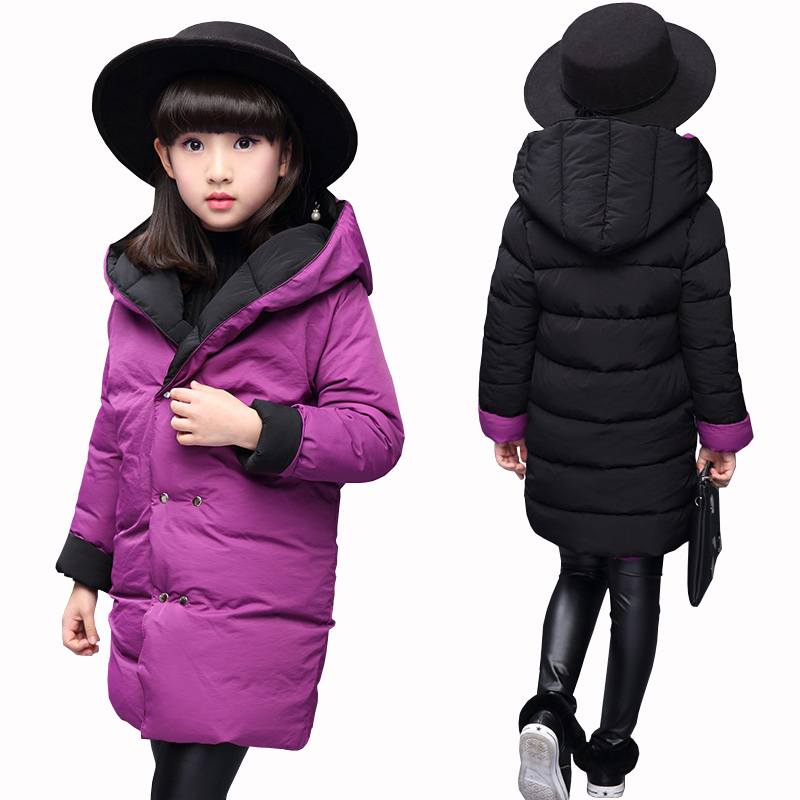 New Girls Two Sides Wear Jacket Kids Thick Clothes Child Warm Thermal Outerwear Cotton Padded Coats Winter Coat for Girls Hooded new winter girls coat cotton girls jacket thick fake fur warm jackets for girls clothes coats solid casual hooded kids outerwear