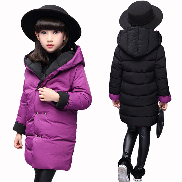 Get Discount Price New Girls Two Sides Wear Jacket Kids Thick Clothes Child Warm Thermal Outerwear Cotton Padded Coats Winter Coat for Girls Hooded