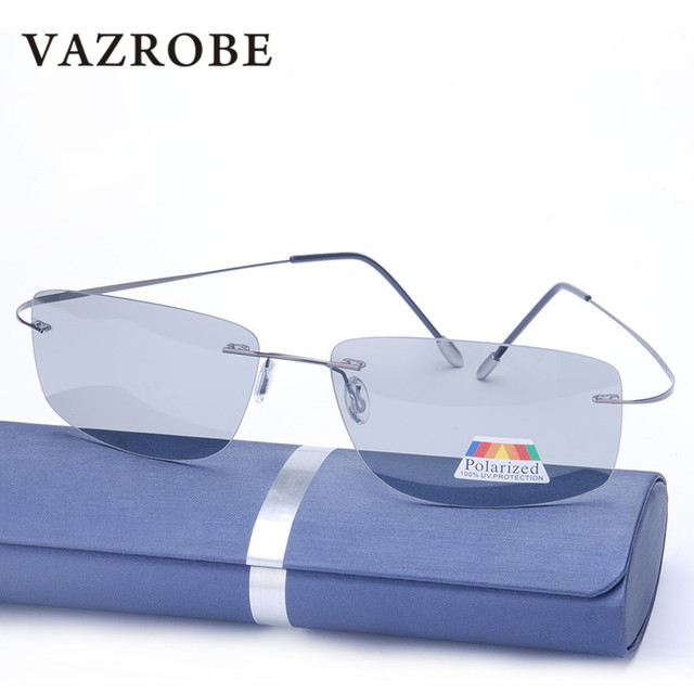 4c4ae8305e Vazrobe polarized Photochromic Sunglasses Men Women Titanium driving  polaroid Sun Glasses transition Rimless Anti-glare