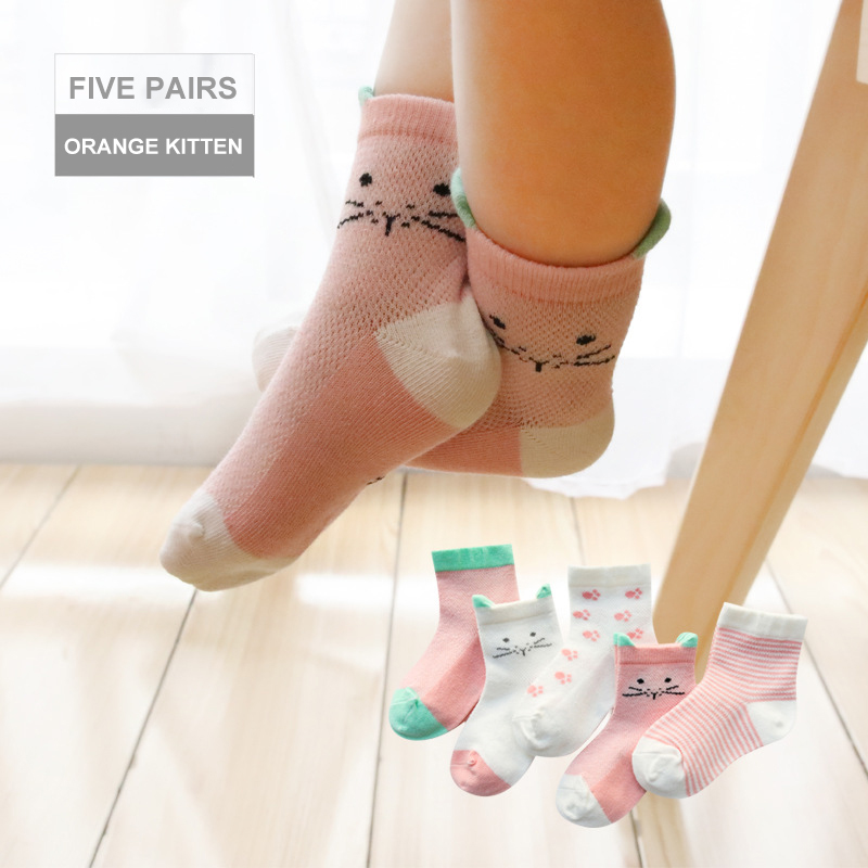 2019 New 5Pairs/lot Infant Baby Socks Summer Mesh Thin Baby Socks For Girls Cotton Newborn Boy Toddler Socks For 3~8 Year