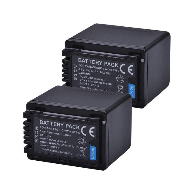 Tectra 2PCS VW-VBT380 VW VBT380 3900mAH Camera Battery for Panasonic HC-V180GK HC-V380GK HC-V380 HC-WX970GK HC-W580GK HC-W580MGK