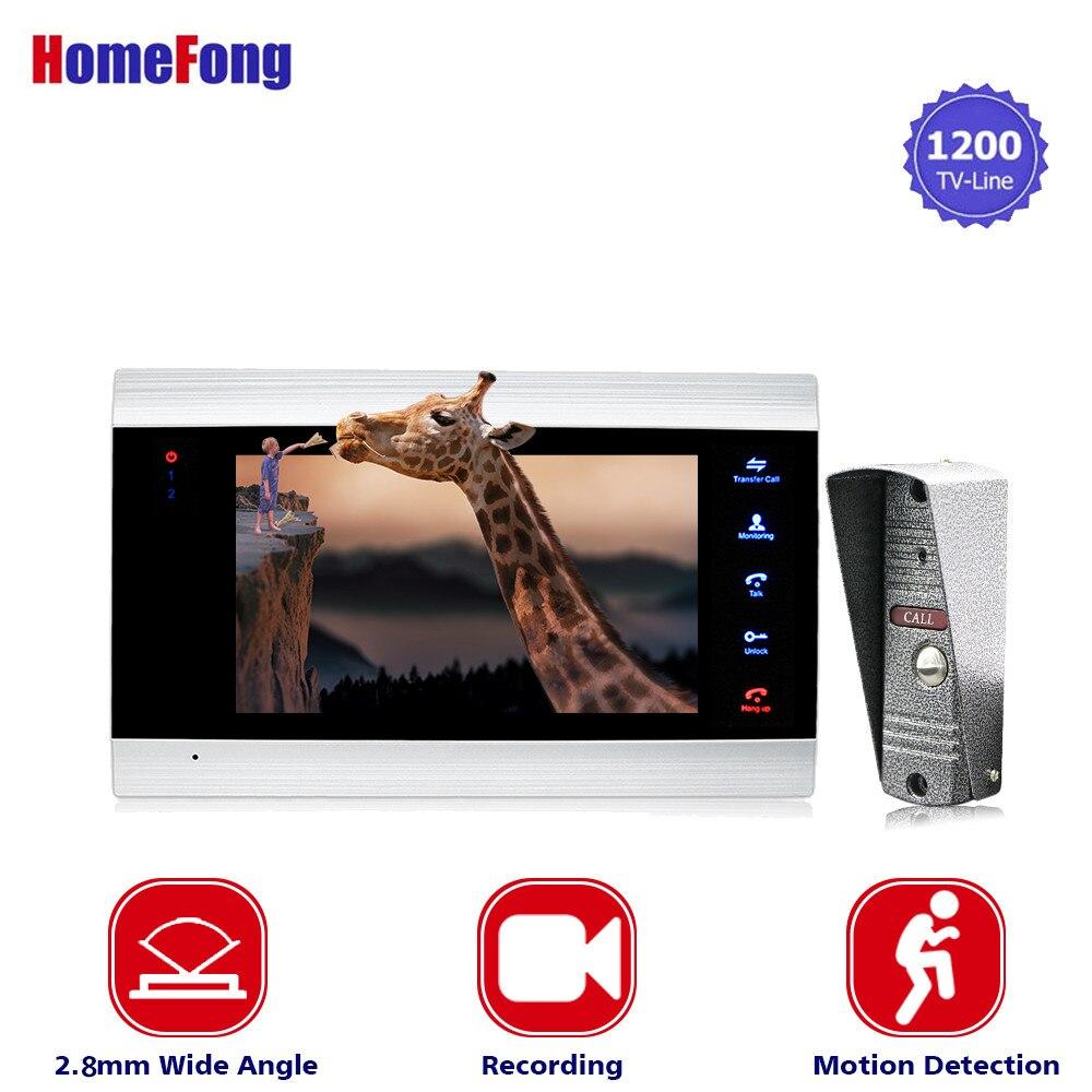Homefong 1200TVL HD de Vídeo Porta Telefone Campainha Sistema de Intercomunicação com a Gravação Da Câmera Wide Angle Detecção De Movimento de Visão Noturna