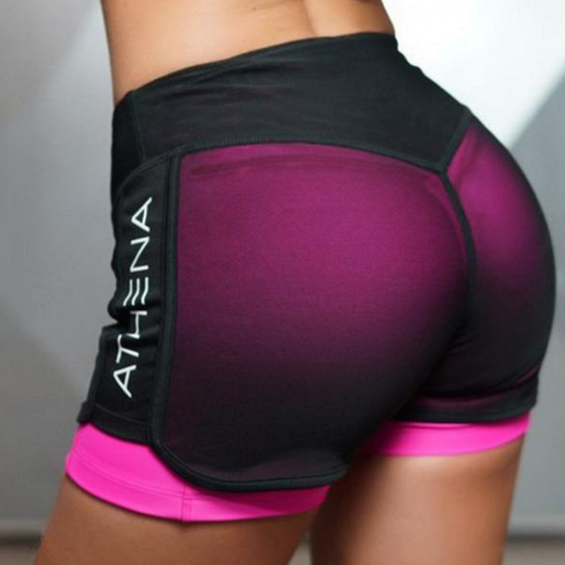 PINK Sports Gym Shorts Women Yoga Shorts Push Hips Sexy Middle Waisted Gym Fitness Elastic Quick Dry Running Shorts
