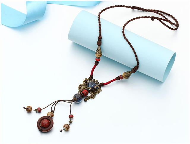New Bohemia Style Jewelry – Antique Gold And Red Color Ceramics Beads – Ethnic Long Necklace For Women – Statement Jewelry