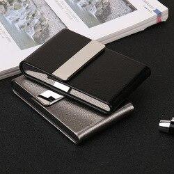 Lady's papierośnica Box wyjątkowo cienka karta uchwyt wąż PU torba metalowa magnetyczny Catche łatwe otwieranie do użytku biznesowego kieszonkowy rozmiar Box
