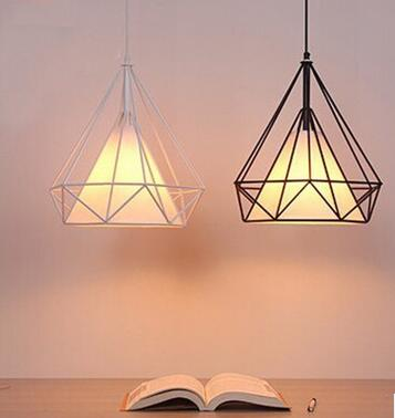 new arrival birdcage diamond shape iron pendent lamp black white bar dining room decor pendent lights A005/45 new arrival iron