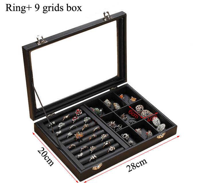 حار بيع الأزياء جديد حجم بو الجلود مجوهرات المنظم مجوهرات عرض حاملات القرط خاتم قلادة على شكل صندوق مربع صندوق هدايا للمجوهرات
