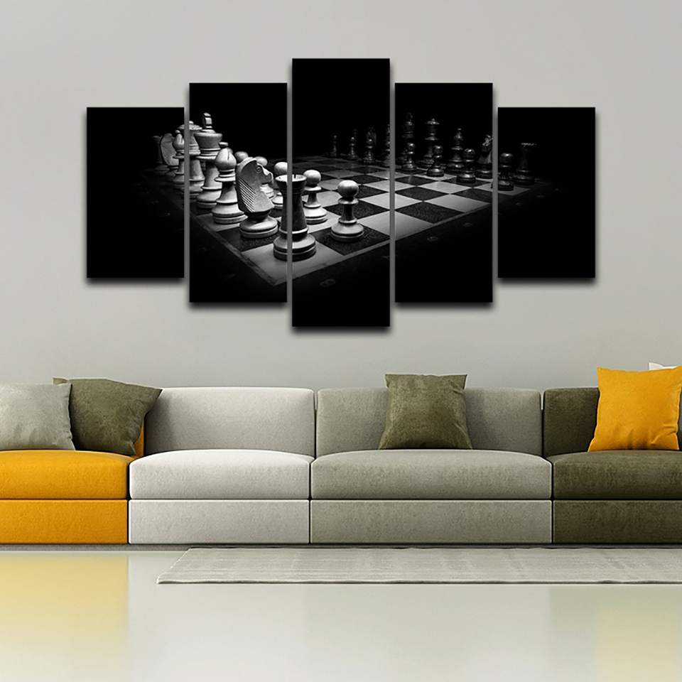 Framework Modern Painting On Canvas 5 Panel Chess Modular HD Printed ...
