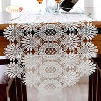 Fier Rose blanc dentelle chemin de Table nappe mode évider dentelle napperon Table drapeau décoration de mariage