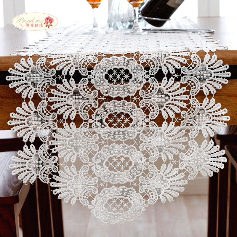 Proud Rose White Lace Table Runner Table Cloth Fashion Hollow Out Lace Placemat Table Flag Wedding Decoration