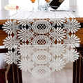 Rosa imponente blanco corredor de la tabla de encaje de tela de mesa de moda hueco Mantel Individual de encaje bandera de la tabla de la decoración de la boda