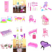 Plastic Bed Bedroom Table Chair Swing Furniture For Dolls Dollhouse Furniture Pink Color Toy For Children Doll Pretend Play Toy(China)