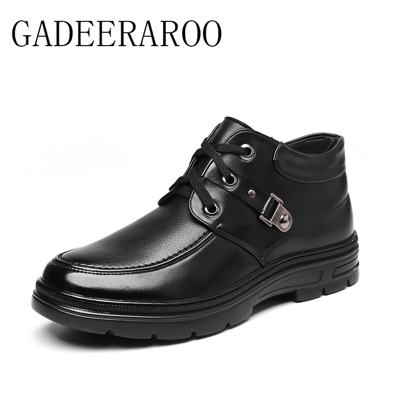 ФОТО 2016 Brand GADEERAROO Men Winter Casual Shoes Lace-up Snow Casual Men Shoes Antiskid Size 38~45 Warm Plus Size #718