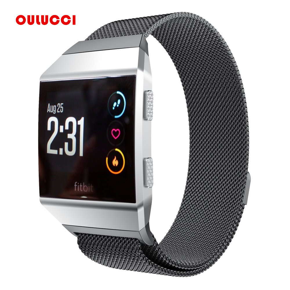 Oulucci  Stainless Steel Mesh Loop Metal Replacement Strap with Unique Magnetic Lock Accessories for Fitbit Ionic  Small LargeOulucci  Stainless Steel Mesh Loop Metal Replacement Strap with Unique Magnetic Lock Accessories for Fitbit Ionic  Small Large