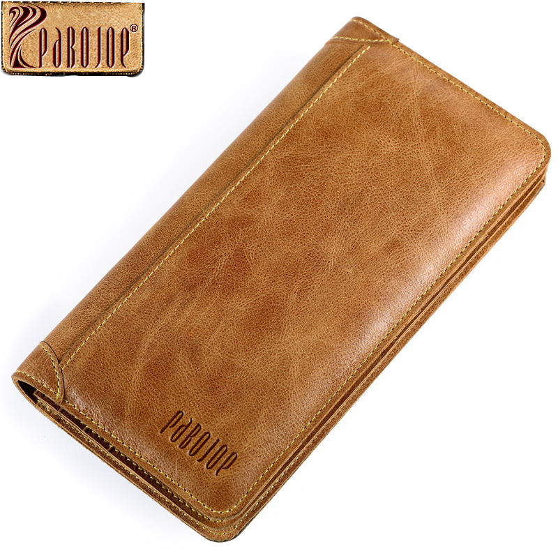 Pabojoe Vintage Men Wallets Genuine Leather Wallet Long Organizer Purse Checkbook Credit Card Holder