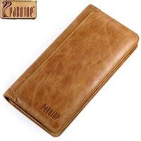 Pabojoe Vintage Men Wallets Genuine Leather Wallet Long Organizer Purse Checkbook Credit Card Holder