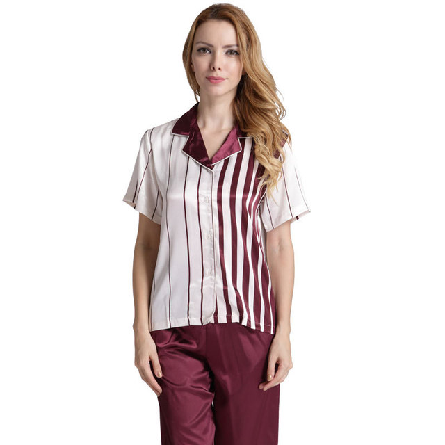 d6ca386c68 Women s Satin Pajamas Sets Satin Silk Short Sleeve Long Pants Pajamas Suit  Basic Sleepwear Classic Nightwear for Women