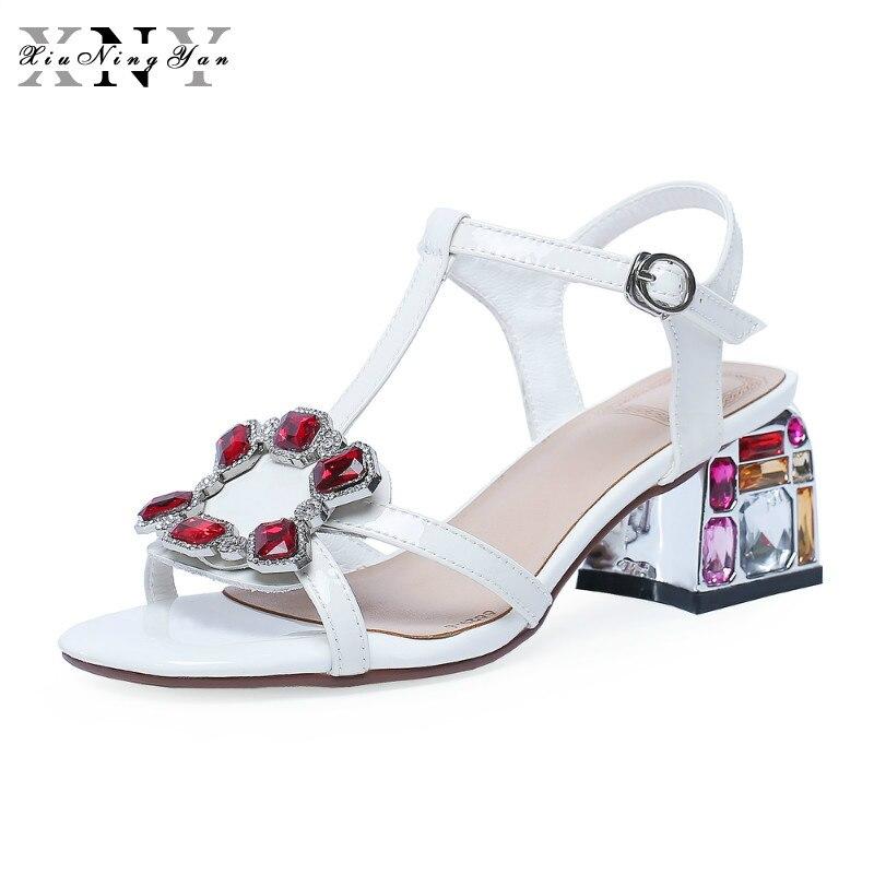 2019 bride à la cheville talons femmes sandales d'été chaussures femme bout ouvert Chunky 6 cm/9 cm talons hauts robe de soirée sandales grande taille 34-43