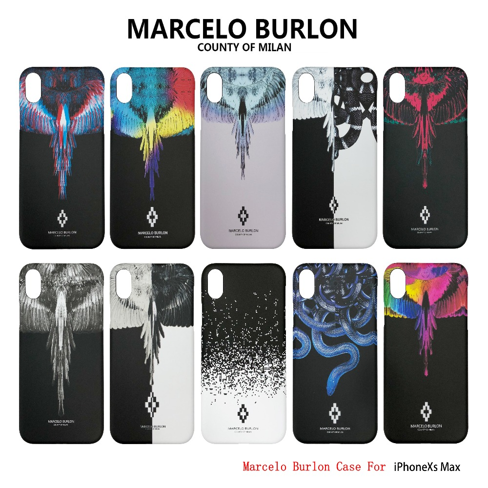 Marcelo Burlon Cover For iPhone XS MAX  Hard PC Phoenix Wing Rose Snake for iPhone XR XS Marcelo Case Back Phone caseMarcelo Burlon Cover For iPhone XS MAX  Hard PC Phoenix Wing Rose Snake for iPhone XR XS Marcelo Case Back Phone case