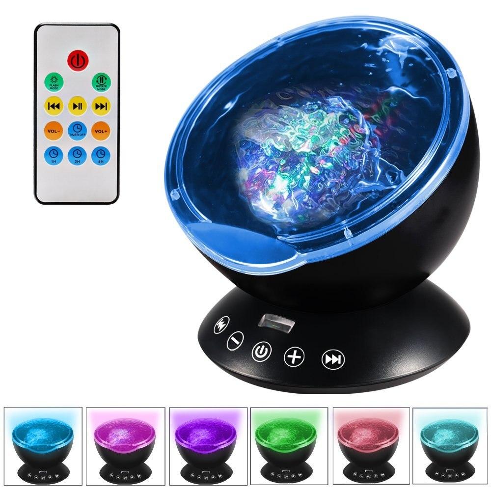 LumiParty Fernbedienung Ozeanwelle Projektor 12 LED 7 Farben Nachtlicht mit Mini Musik-player für Wohnzimmer und schlafzimmer