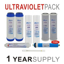 1 Year Supply Ultraviolet Reverse Osmosis System Replacement Filters Set - 9 with UV and 75 GPD RO Membrane Pack Of