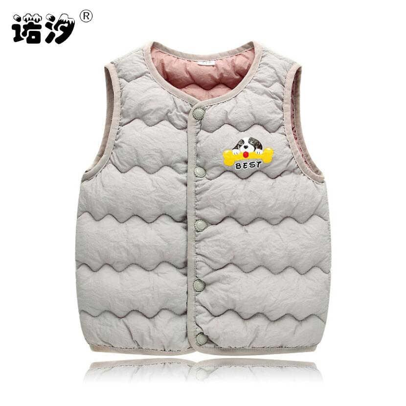 Bé quần áo trẻ em dày lên xuống cotton bên trong áo ghi lê cô gái dễ thương áo ghi lê bé quần áo trẻ em tops 1-9Y trẻ em mùa đông vest