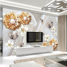 Custom wallpaper 3d murals gold jewelry flower butterfly 3d TV background wall living room bedroom wallpaper 3d papel de parede nordic minimal elk flying birds forest custom wallpaper living room tv backdrop sofa wall bedroom murals papel de parede