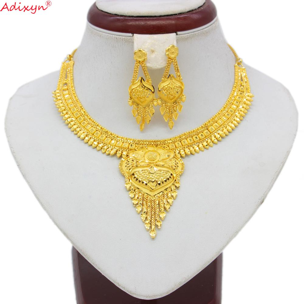 Adixyn Tassel Dubai Necklace&Earrings Jewelry Set for Women Gold Color Jewelry Ethiopian/India Wedding/Party Accessory N060813(China)