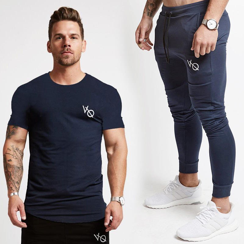 New VQ T-Shirt+Joggers Sets Men Short Sleeve T Shirt Gyms Top+Pants Mens Sets 2018 New C ...