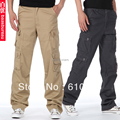Men  Multi-pocket overalls long trousers male loose thin casual pants military pants