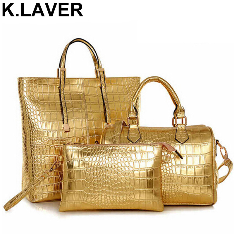 цены 3Pcs Luxury Alligator Crocodile Women Leather Handbag Set Famous Brand Women Shoulder Bags Ladies Handbags Purse Clutch Bag Gold