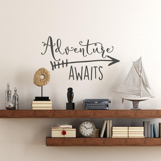 reizen thema avontuur wacht vinyl muurtattoo woondecoratie quotes kids slaapkamer decor muursticker art vinyl behang ny