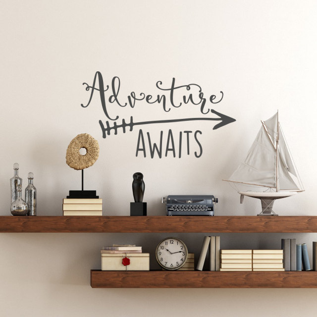 Travel Theme Adventure Awaits Vinyl Wall Decal Home Decoration Quotes Kids Bedroom Decor Sticker Art Wallpaper NY 360