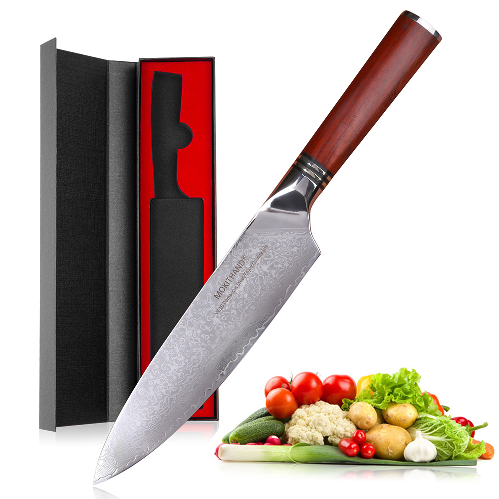 Mokithand 8 inch Damascus Chef Knives High Carbon 67 Layer VG10 Japanese Steel Kitchen Knife Sharp