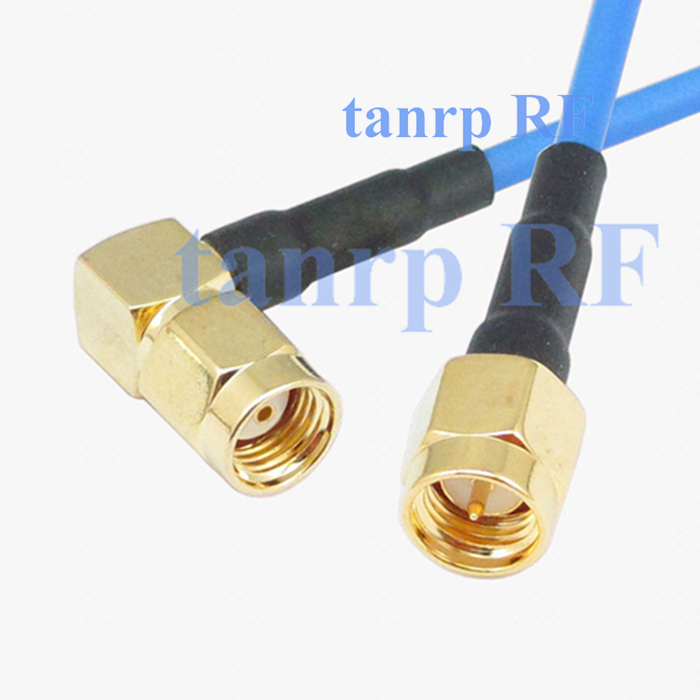 15CM coaxial Sexi Flexible blue jacket jumper extension cable RG405 6in RP SMA male right angle to SMA male RF 3G 4G router WIFI