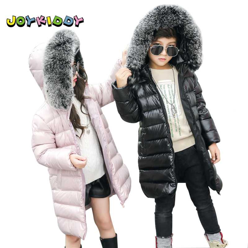 Children Long Winter Jacket for Girls Boys Fashionable 90% Duck Down Real Fox Fur Collar Coat Jacket Kids Hooded Warm Parkas 2017 winter thick warm children long sections duck down jacket kids girls down jacket for boys hooded collar outerwear coat