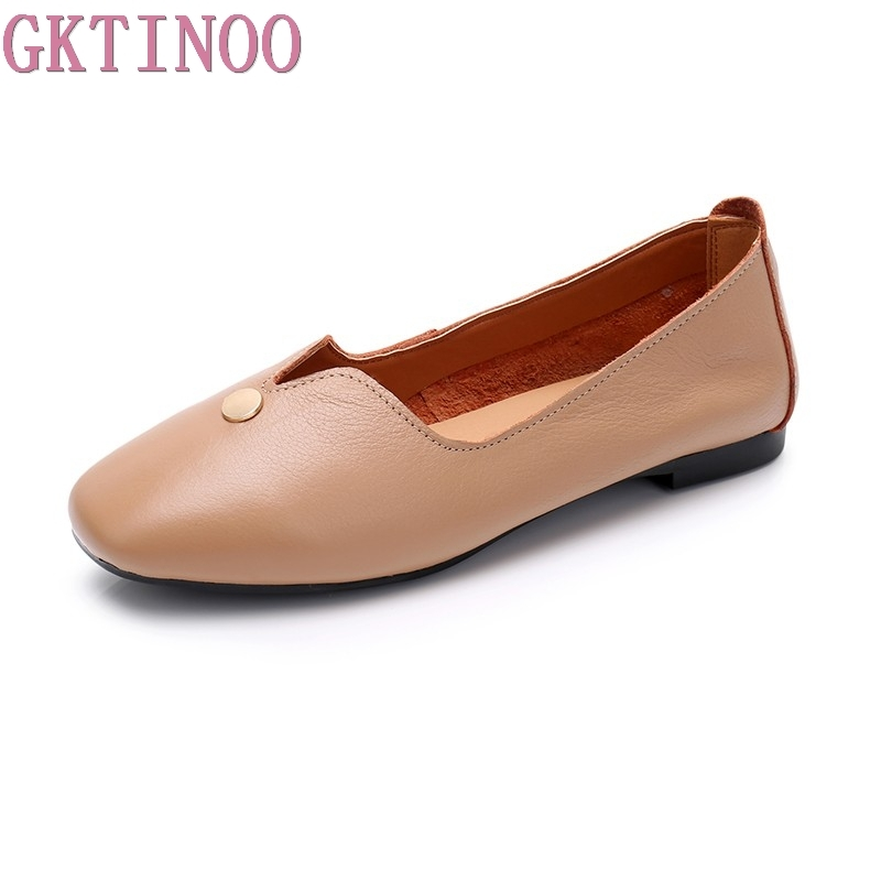 цена GKTINOO Plus size 35-43 Flat Shoes Woman Genuine Leather Loafers Flexible Spring Summer Casual shoes woman Flats zapatos mujer