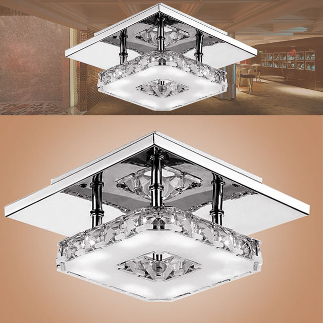 Polished Crystal-Decorated LED Ceiling Light