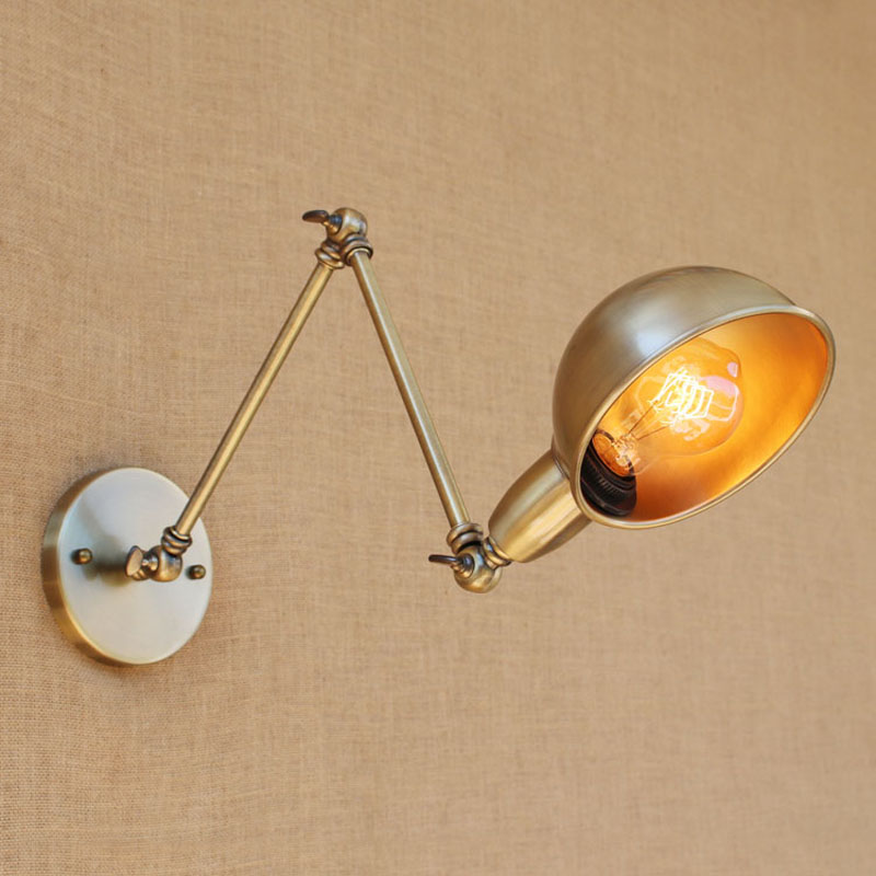 American Creative antique wind long rod telescopic wall lamp folding bronze wall lamp decoration bedroom bedside restaurant loft краска для волос syoss syoss sy001lwsii47