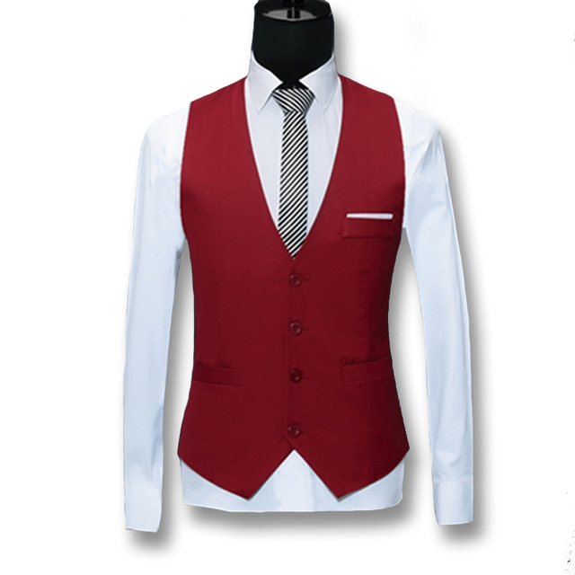 2016 Men Suit Vests Blazers Jackets Business Men Dress Vests Colete Masculino Men's Casual Fashion Slim Fit Sleeveless Waistcoat