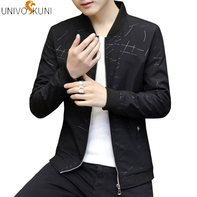 UNIVOS KUNI Male Slim Autumn Clothing Men's Jackets Zipper Thin Printing Fashion Wear Outside Baseball  Jacket Men Q5224