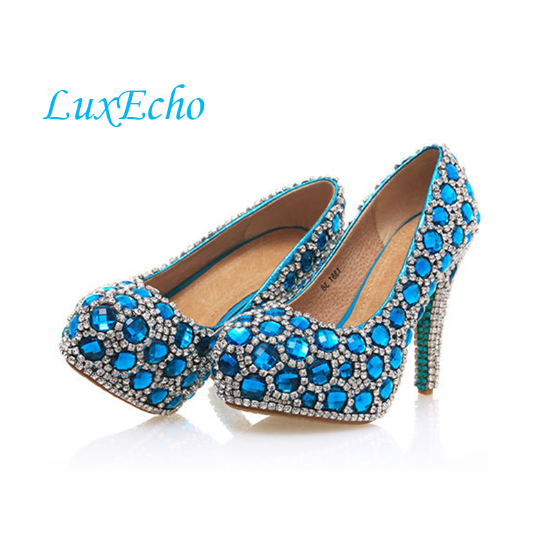New arrival womens fashion blue rhinestone wedding shoes up heel platform shoes shallow mouth wedding pumps pig leather innerNew arrival womens fashion blue rhinestone wedding shoes up heel platform shoes shallow mouth wedding pumps pig leather inner